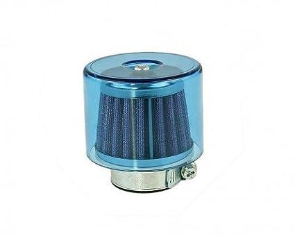 Tuning Luftfilter Sportluftfilter ( blaue Kappe Ø 38mm Durchlass ) für Motorrad Roller Moped Mofa Auto M-85650 + BISOMO® Sticker ZRMH