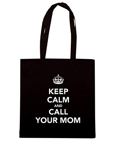 Speed Shirt Borsa Shopper Nera TKC1168 KEEP CALM AND CALL YOUR MOM