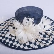 Gorgeous Wide Brim Sinamay Floral Feathers Derby Dress Hat Navy Blue w White by ray&daniel (Image #5)