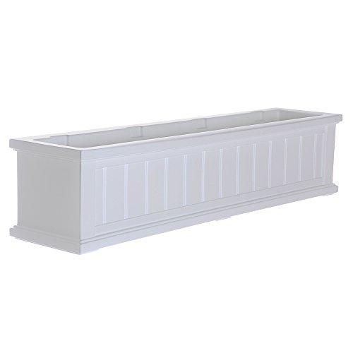 Mayne 4841-W Cape Cod Polyethylene Window Box, 4', White (Outdoor Planter Large Boxes)