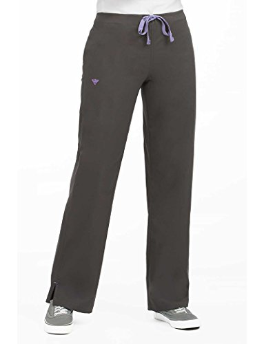 Med Couture Women's Drawstring Scrub Pant Small Charcoal/Signature Purple