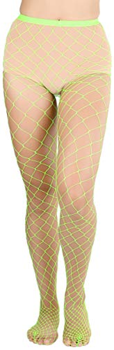 ToBeInStyle Women's Diamond Net Once Size Full Footed Pantyhose - Neon Green ()