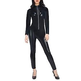 Hde Womens Cat Suit Halloween Costume Zipper Front Wet Look Black Full Body Adult Sized Jumpsuit