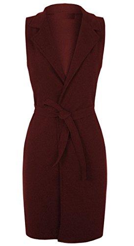 ZET Womens Sleeveless Belted Crepe Textured Open Long Waistcoat Jacket Plus Size UK 8-26 Wine