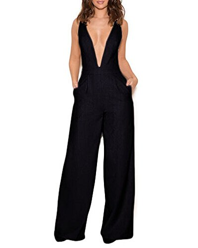 Standard Plus Ladder (UONBOX Women's Sleeveless Elegant Deep V and Wide Leg Ladder Back Jumpsuit (L, Black))