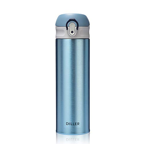 DILLER Vacuum Insulated Water Bottle,Stainless Steel Thermos Coffee Travel Mug BPA-Free Thermos Flask ,Keeps Cold 24H, Hot 12H,17 oz (blue)