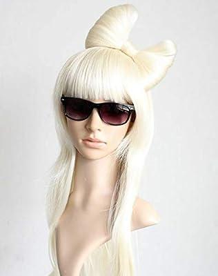 FidgetFidget Lady Gaga Peluca Rubia Recta + Clip Gaga Lazo: Amazon.es: Hogar
