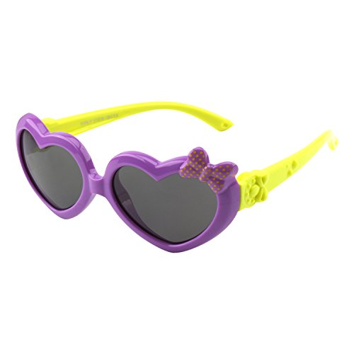 (CGID Soft Rubber Kids Girls Heart shaped Polarized Sunglasses for Children,K78)