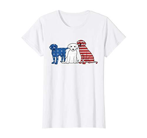 Womens Blue White Red Labrador Lab Us Flag 4th July Patriot Shirt