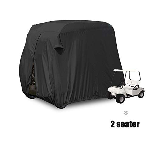 moveland Waterproof Dust Golf Cart Cover Outdoor Accessories, 210D Material + Extra PVC Coating 2 Passenger Custom Cart Cover for EZ GO, Club Car, Yamaha(Black)