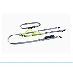UgBaBa Hands Free Dog Leash for Walking Running Training Jogging,Heavy Duty Double Shock Absorbing Bungee Dog Leash Kit for 2 Dogs,Adjustable Waist Belt,Reflective, 3 Handles for Extra Control 26