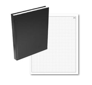 BookFactory Black Grid Notebook/Grid Book - 96 Pages (.25 Grid Format) 8'' x 10'' Black Cover Smyth Sewn Hardbound (GRD-096-SGP-A-LKT00) by BookFactory