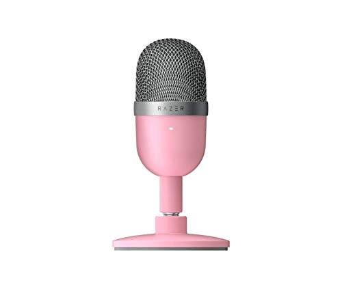 Razer Seiren Mini: Ultra-Precise Supercardioid Pickup Pattern - Professional Recording Quality - Ultra-Compact Build - Heavy-Duty Tilting Stand - Shock Resistant - Quartz Pink
