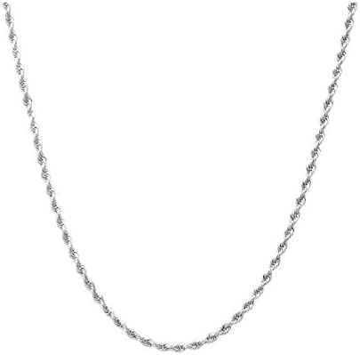 """Sterling Silver Diamond Cut Rope Chain Necklace- 1.5MM-7.5MM -Made In Italy - 7""""-30"""""""