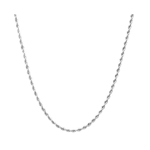 (Sterling Silver 2mm diamond cut rope chain necklace- Made In Italy (Silver,)