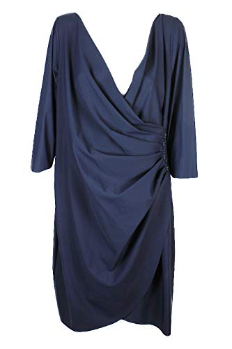 Price comparison product image Alex Evenings Navy Plus Size Embellished Draped Sheath Dress W