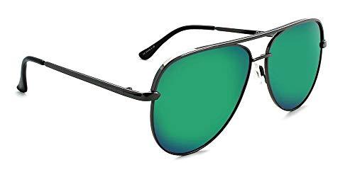 (Optic Nerve Flatscreen Polarized Smoke with Green Mirror Lens - Shiny Gunmetal Frame)