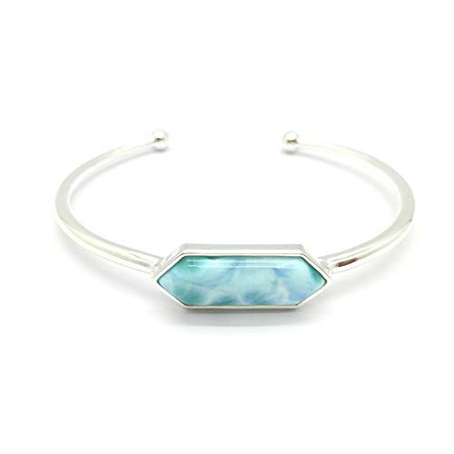 Tuoke 925 Sterling Silver Cuff Bracelet Larimar Jewelry Adjustable Wrap Open Charm Bracelet Natural Stone Fine Jewelry for Women and Girl ()