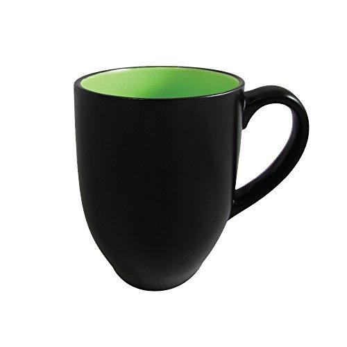 Coffee Mug - 8 Ounce Barrel Mug and Tea Cup Ceramic Stoneware Matte Black Finish (Green Interior) ()