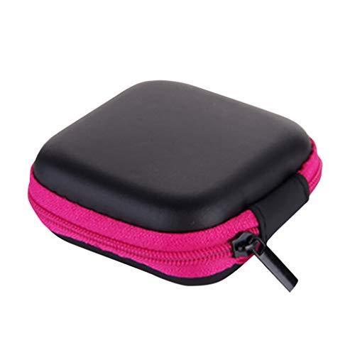 YJYdadaS Mini Zipper Hard Leather Earphone Storage Bag Earphone Pouch Box (Pink)