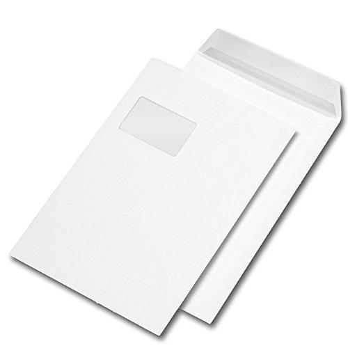 Versandtasche DIN C4, haftklebend, weiß, mit Fenster (55 x 90 mm), Packung: 250 Stück