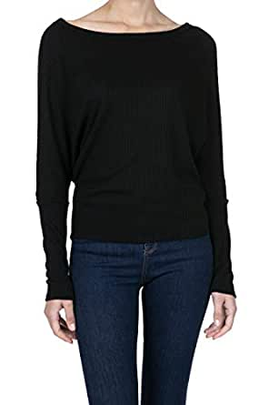 iliad USA Women's Boat Neck Batwing Sleeve Pullover Waffle Shirt Blouses Top - Black - Small