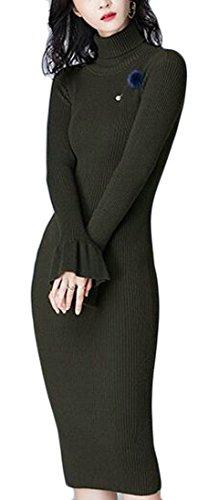 Jaycargogo Des Femmes De Douille De Cloche De Faux Col Moulante Coupe Slim Robe Pull En Tricot 2