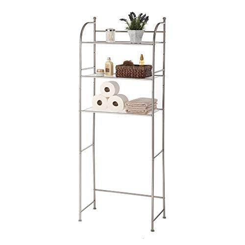 Home Zone 3 Shelf Bathroom Space Saver Over The Toliet Storage, Shelf Liner Included, Satin Nickel Finish (3 Shelf Space Saver)