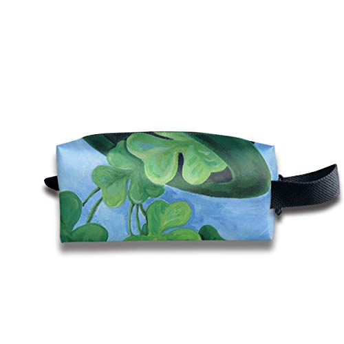 ManSanTuBaZhu Shamrock Shower Holiday St Patrick's Day Travel Makeup Bag Portable Cosmetic Organizer Durable Multipurpose Storage Case with Zipper Delicate Printing