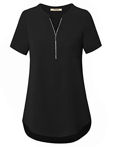 Timeson Blouses for Women Plus Size, Short Sleeve Button Down Chiffon Blouse High Low Zipper Tunic Shirt Pleated Comfy Long Maternity Career Tops Work Casual Business for Pants Black ()