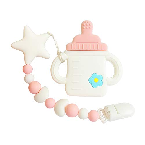 joylnk Baby Teething Toys Bottle BPA Free Silicone Teether Molar Egg Trendy Chew Beads Pendant Holder for Babies Girls MAM Newborn Shower Gifts(Pink) ()