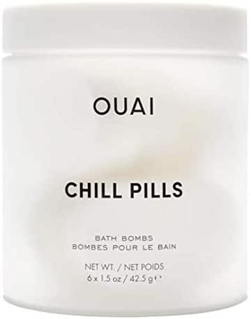 OUAI Chill Pills. Escape to your Own Relaxing Spa with Jasmine and Rose Scented Bath Bombs. Unwind while Jojoba, Safflower and Hemp Seed Oil Improve Texture, Moisturize and Calm Skin. (6 x 1.5 oz)