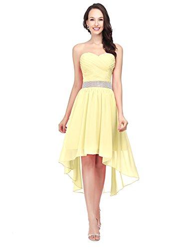 Abschlusskleider Bandeau Ballkleid CSD400 Cocktailkleid Damen Asymmetrisch Abendkleid Chiffon Clearbridal Gelb qE7Yac