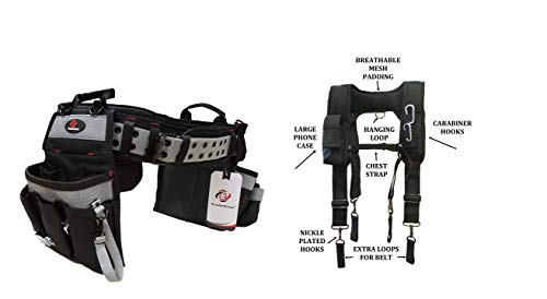 TradeGear Electrician's Belt & Bag Combo - Heavy Duty Electricians Tool Belt Designed for Maximum Comfort & Durability - Ideal for All Electricians Tools (Size S-L Bundled W/Suspenders)