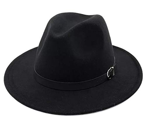 (Lanzom Women Men Retro Style Wide Brim Panama Hat Belt Buckle Wool Fedora Hat (Black, One Size))