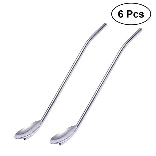 BESTONZON 6PCS Stainless Steel Drinking Spoon Straw Reusable Metal Straws Cocktail Spoons Set (Silver)