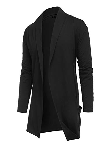 RAGEMALL Men's Cardigan Ruffle Shawl Collar Cardigan Open Front Blend Long Length Drape Cape Overcoat Black_M