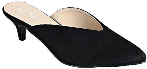Point-01 Women Pointed Toe Slip On Kitten Heel Pumps Mules Black ()