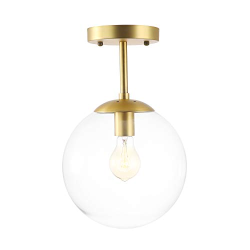 Light Society Zeno Globe Semi Flush Mount Ceiling Light, Clear Glass with Brass Finish, Contemporary Mid Century Modern Style Lighting Fixture (LS-C176-BRS-CLR)
