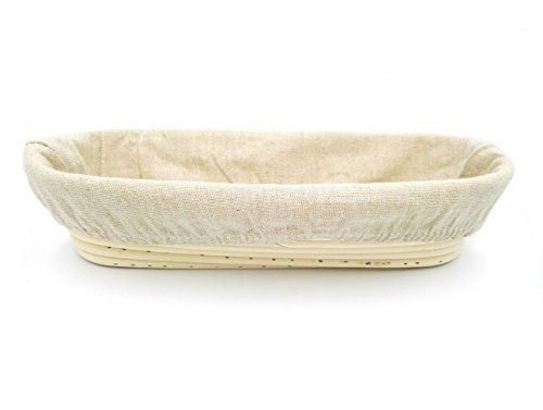 Boseen Oval Shaped Banneton Bread Dough Proofing Rising Rattan Basket & Liner Combo( 12 inches)