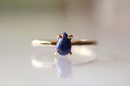 Lapis Ring, Solid Gold Ring, Gold Lapis Ring, Solid Gold Stacking Ring, Engagement Ring, Eco Friendly Recycled, Lapis Lazuli Ring, Genuine by Full Moon Jewellery