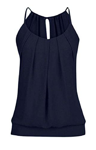 安定した通路コモランマTootess Women Slim Fit Strappy Solid Color Frill Vest Tank Top Shirt