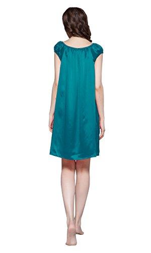 Knie 22 LilySilk Türkis Nachtkleider Nachtwäsche Damen Momme Lang Seiden Nachthemd dqt1t