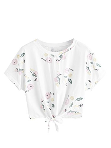 SweatyRocks Women's Loose Short Sleeve Summer Floral Print Knot Crop T-Shirt Tops Blouse Floral M (Knot Floral Print)