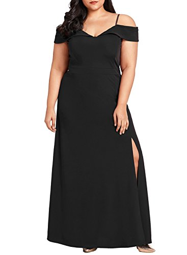 V Cold Long Shoulder Women's Sexy Neck Dearlove amp;plus Dress Sleeve Maxi Short Black CqwE6IEz