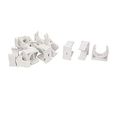 25mm Dia Water Tube Pipe Fitting Clamps Snap in Type Clips White 14pcs