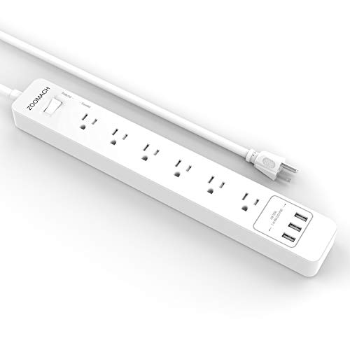 ZOOMACH Surge Protector Power Strip with USB Charging Ports and 5 Ft Extension Cord, Multi Outlet Power Strip with 2100 Joule, 1875W/15A (6-Outlet)