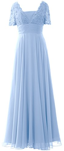 MACloth Women Short Sleeves Mother of the Bride Dress Lace Formal Evening Gown Cielo azul