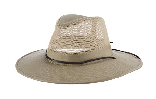 (Dorfman Pacific Men's 1 Piece Brushed Twill Mesh Safari Hat With Genuine Leather Trim, Khaki, X-Large )