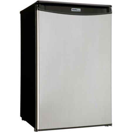 Danby Designer DAR044A5BSLDD 4.4 cu ft Automatic Defrost Compact All Refrigerator 120 volts, Spotless Silver